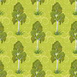 Seamless, birch trees and floral pattern