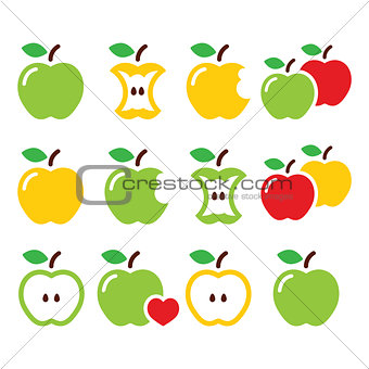 Green and yellow apple, apple core, bitten, half vector icons