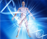 3D male medical figure on abstract DNA background