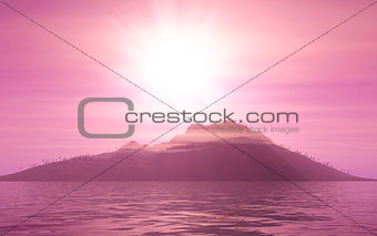 3D mountain landscape at sunset