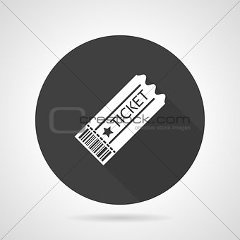 Ticket black round vector icon