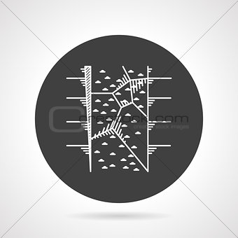 Climbing wall black round vector icon