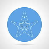 Starfish blue round vector icon