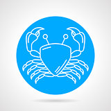 Crab blue round vector icon