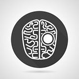 Brain black round vector icon