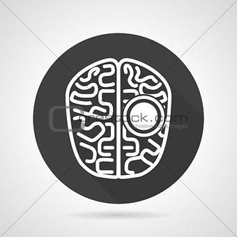 Brain black round vector icon