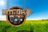 Milk Cans - Wooden Sign with Arrow in Countryside