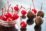 Chocolate cherries with liqueur and Armagnac