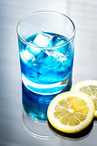 Glass of blue curacao cocktail