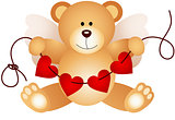Cupid teddy bear holding string hearts