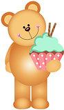 Teddy bear holding a cupcake