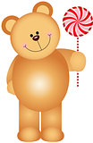 Teddy bear holding a lollipop