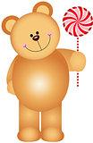 Teddy bear holding a lollipop