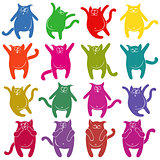 Sixteen thick funny cat stencils