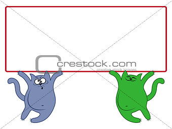 Amusing cats with large rectangular banner