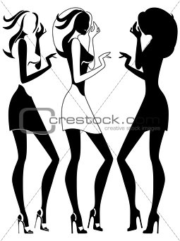 Abstract three girls outline