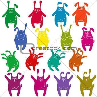 Sixteen thick funny rabbit stencils