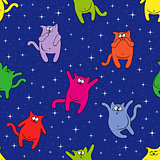 Seamless pattern with funny cats on starry sky