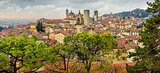 Panoramic cityscape view of Bergamo old town, Italy