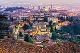 Scenic view of Bergamo old town cityscape at sunset, Italy