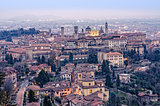 Scenic view of Bergamo old town cityscape fter sunset, Italy, Eu