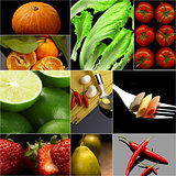 Organic Vegetarian Vegan food collage  dark