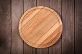 cutting board on dark wooden background