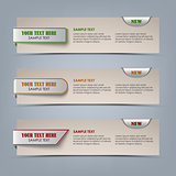 Modern horizontal banners with colored pointers