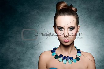 charming girl with coloured make-cup