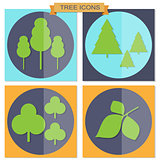Set of flat tree icons