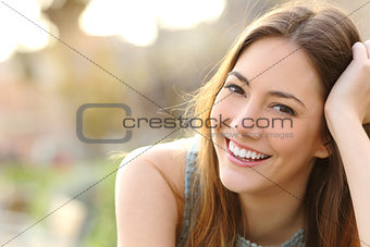 Girl smiling with perfect smile and white teeth