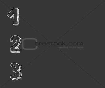 1, 2, 3 vector numbers on chalkboard background