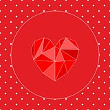 Valentines vector card with heart and white polka dots on red background