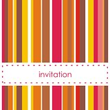 Vector card or invitation with red, yellow and brown stripes