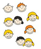 Happy kids and baby hand drawn vector illustration isolated on white background.