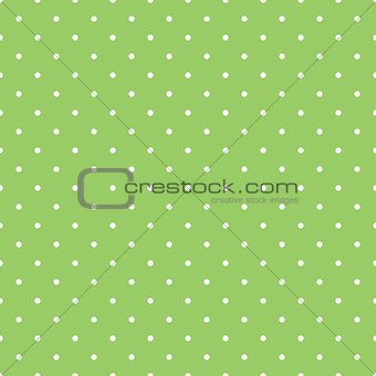 Tile vector pattern with small white polka dots on pastel spring green background