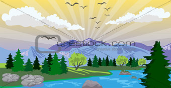 Beauty landscape with sunrise under lake and mountain
