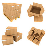 Open and Close of Cardboard Boxes Isolated on White Background.