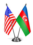 USA and Azerbaijan - Miniature Flags.