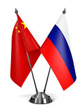 China and Russia - Miniature Flags.