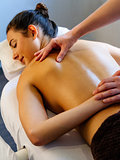 Back massage on young woman