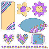 Colorful tags or labels, hearts and flowers