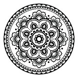 Indian, Mehndi Henna floral tattoo round pattern