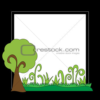 Black frame with tree and grass