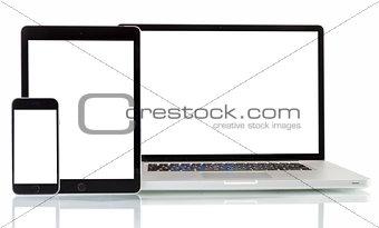 Modern laptop, smartphone, tablet pc