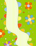 Colorful background with flowers, dots and stripes