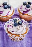 Set of tasty blueberry cupcakes