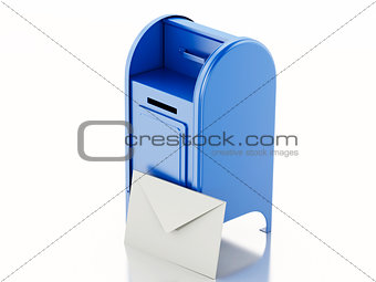 3d Blue mail box with heap of letters.