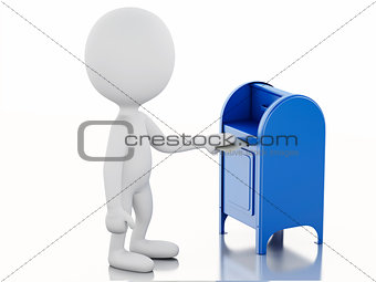 3d white people with  mail box and envelope.