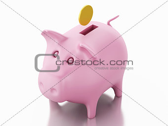 3d piggy bank with golden coins